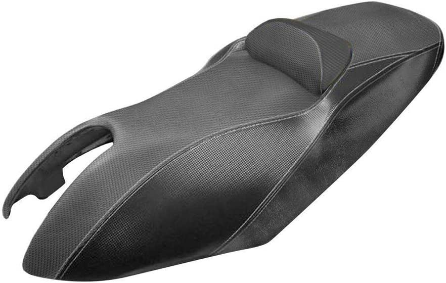 Funda de sill/ín de color negro con almohadilla negra para Yamaha T-Max TMAX 500 a/ño 2001 2002 2003 2004 2005 2006 2007 Poliparts