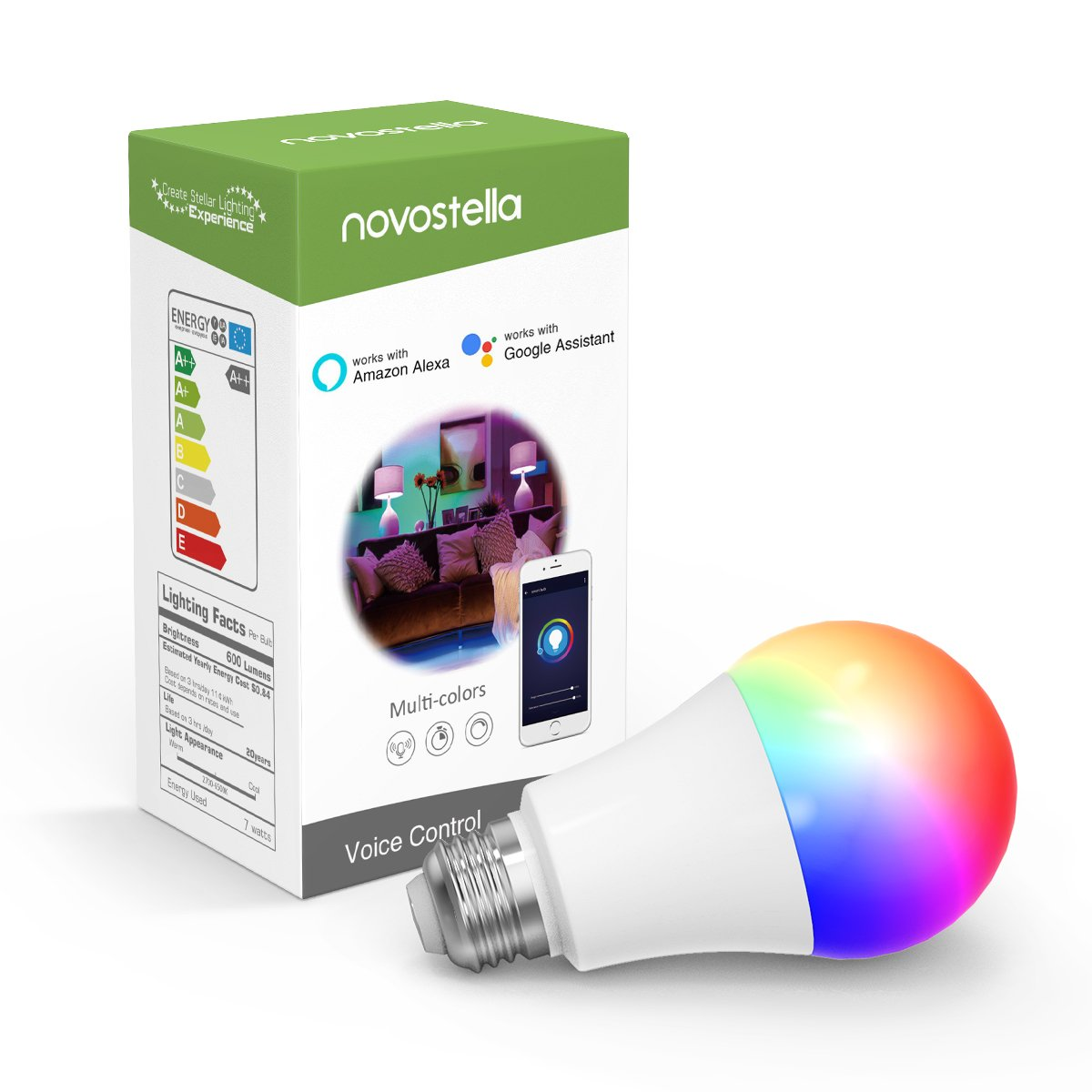 Smart Light Bulb, Novostella RGBCW Wi-Fi LED Bulb A19[7W 600LM] Dimmable Multicolored Lights, No Hub Required, Compatible with Alexa and Google Home, 60W Equivalent (1 Pack)