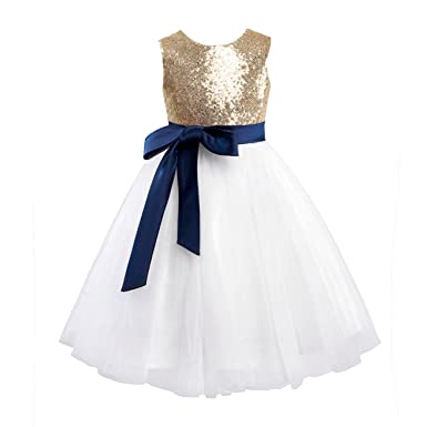 ade284dc41b Miama Gold Sequin Ivory Tulle Wedding Flower Girl Dress Junior Bridesmaid  Dress