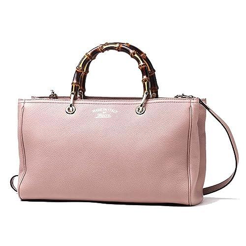 2358ae3c64fe Gucci Bamboo Shopper Mauve Powder Pink Leather Tote Handbag 323660:  Amazon.in: Shoes & Handbags