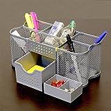 Desk Pen Organizer Holder Office Supplies Mesh Desktop Storage Metal Caddy Silve