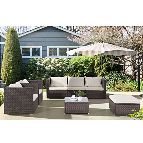 Uenjoy Patio Furniture Set 7PC Rattan Wicker Outdoor Cushioned Sofa and Table Lawn Garden Brown