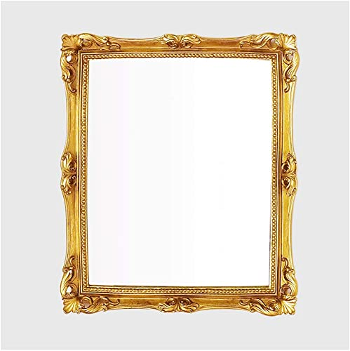 Caroll s Home Artistic Square Gold Wall Mirror, Elegant Decorative Vintage Baroque Wall-Mounted Mirror, Luxury Antique European Home D cor for Bedroom, Hallway, Living Room Square Gold