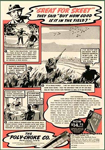 SKEET & DUCK HUNTING SCENES IN 1939 POLY-CHOKE AD Original Paper Ephemera Authentic Vintage Print Magazine Ad / Article