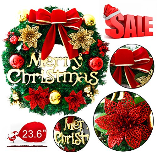 Mannice Large Christmas Wreath for Front Door Wall Windows Artificial Poinsettia Xmas Decoration,Red Bowknot 11.8 Inch (Wreaths Xmas)