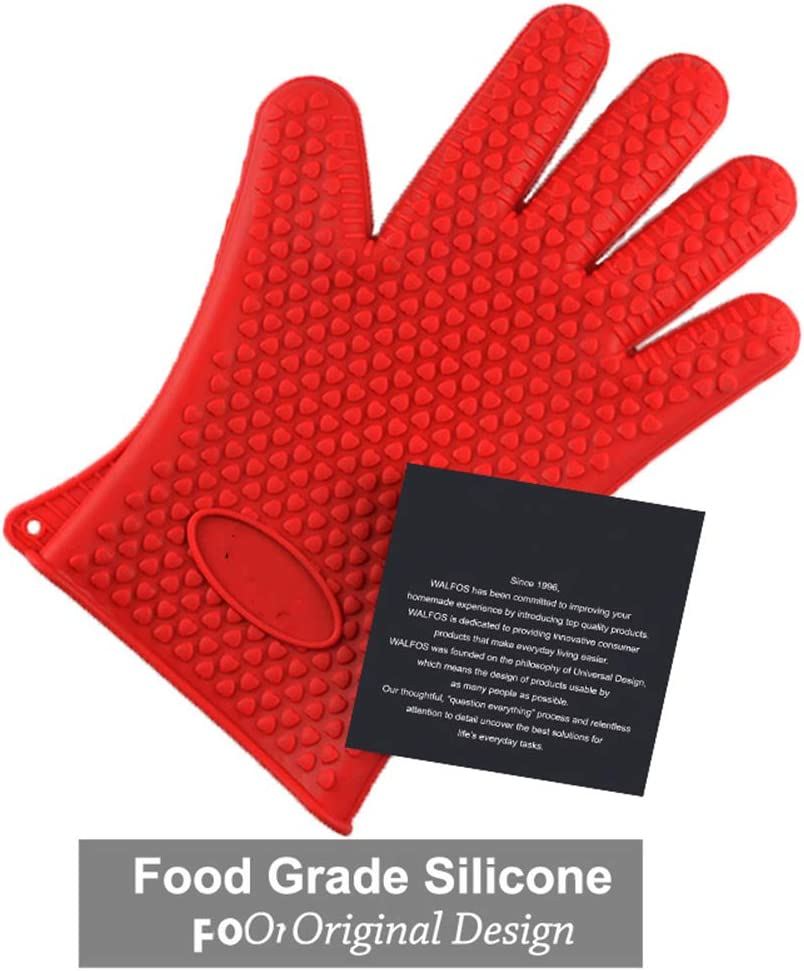 Food Grade Heat Resistant Silicone Kitchen Barbecue Oven Glove Cooking BBQ Grill Glove Oven Mitt Baking Glove 1 Piece,Red