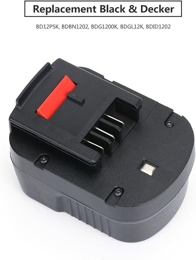 REEXBON BLACK /& DECKER Batterie A12E 12V 3000mAh NIMH Remplacement Batterie pour BLACK /& DECKER HP12 HPB12 HP122 HP122K A12-XJ A12EX A1712 FS120B FSB12 FS120BX