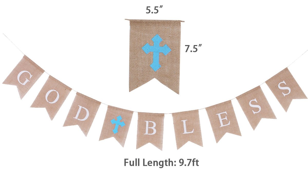 Burlap Communion Party Banner, Baptisim Christening Decoration God Bless Banner, Swallow-Tailed DIY Decoration for Wedding, Baby Shower Party (Blue)
