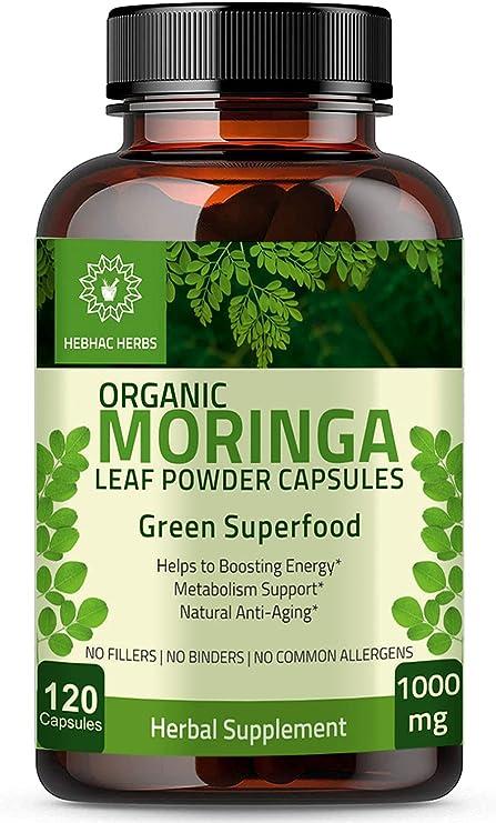 Organic Moringa Capsules 120 Capsules 1000mg – Green Superfood Organic Moringa Oleifera Leaf Powder Capsules - Immunity & Metabolism Booster Nutritional Rich Supplement for Breastfeeding Support