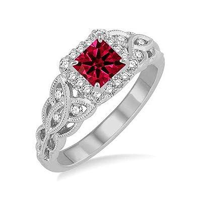 Anillo de boda de diamante y rubí de corte princesa de 1,25 ...