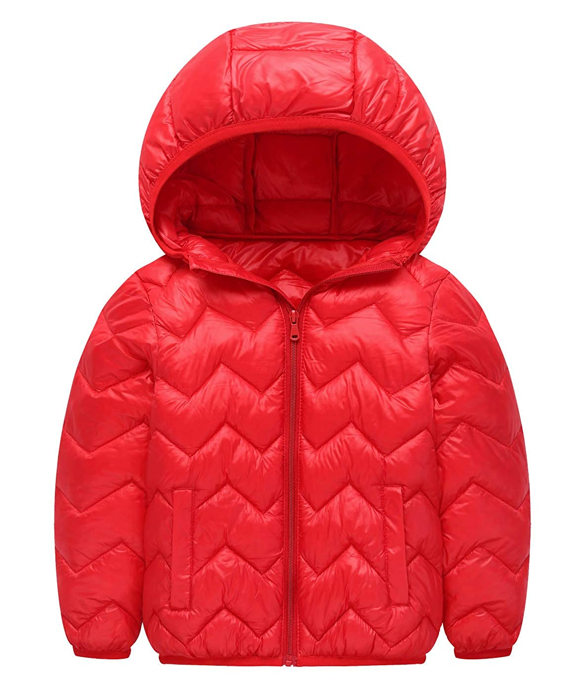 Aivtalk Boys Girls Lightweight Puffer Down Jacket Hooded Solid Winter Outerwear