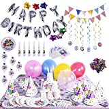 100 PCs Birthday Party Decorations Including Happy Birthday Banner, Silver Alphabet Letters, Colorful Party Balloons, Confetti, Tablecloth,Plates, Banner Flags and More All-in-One Pack