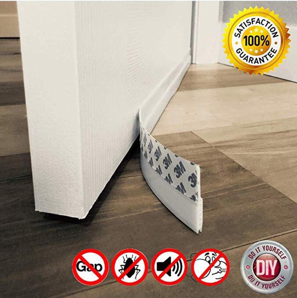 Door Draft Stopper – High Performance Silicone Door Sweep W VHB Adhesive Strip , Draft Blocker For Under Door Seal Gap Interior & Exterior Doors Weather Stripping Soundproof, Draft Guard Insulator YIKUI