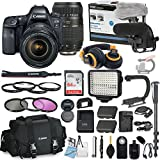 Canon EOS 6D Mark II DSLR Camera Bundle w/24-105mm f/4L IS II USM Lens & Tamron 70-300mm Di LD Zoom Lens + Professional Video Accessory Bundle includes ECKO Headphones, Microphone, LED Light and More