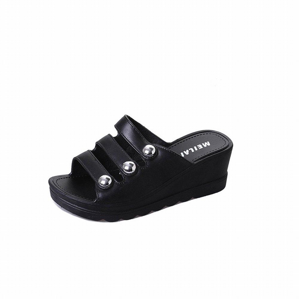 YTTY Slope mit Damensandalen und Pantoffeln Dicksandalen Sandalen Damen Strandschuhe Ankle Strap Sandalen Frauen  38|Schwarz