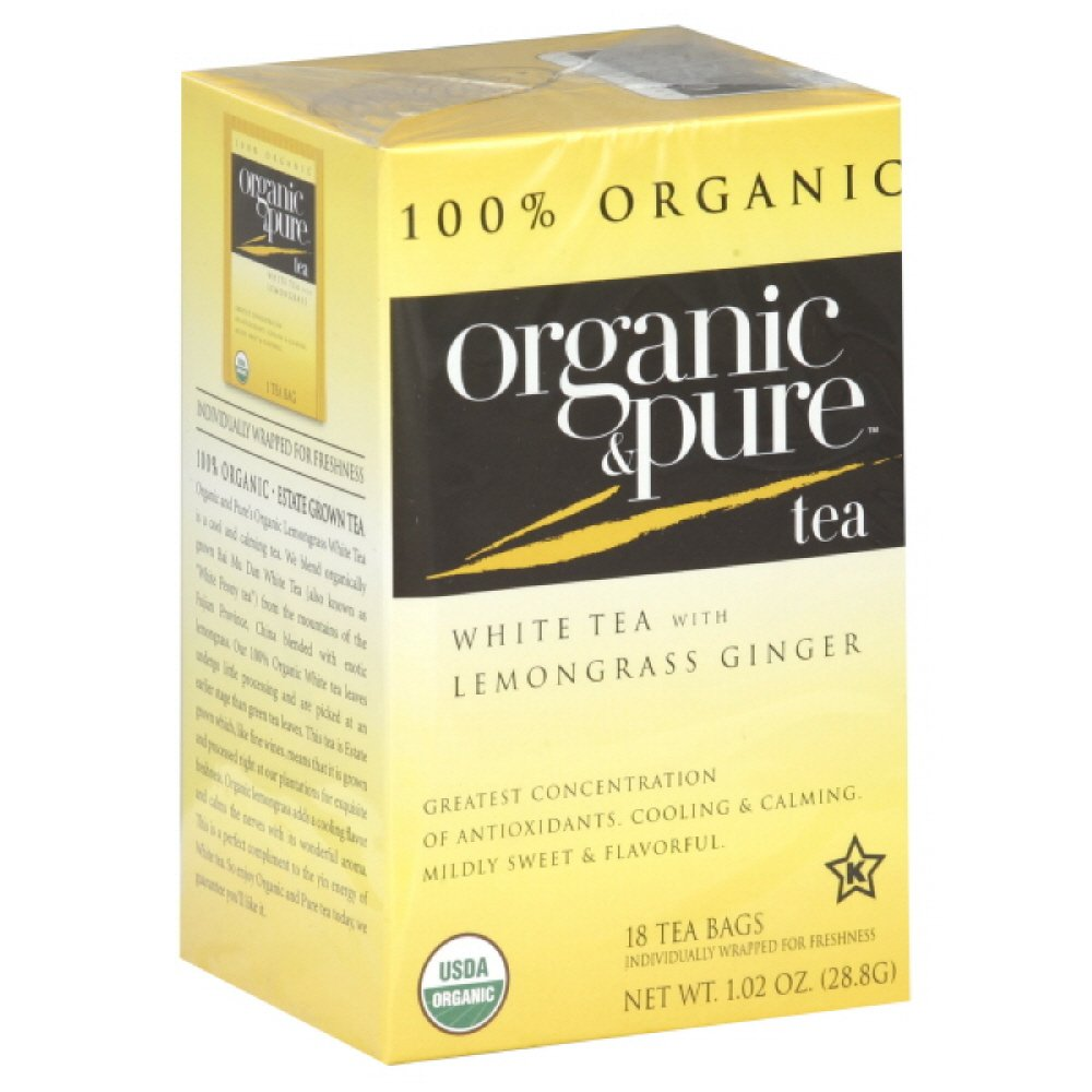 Organic & Pure White Tea with Lemongrass Ginger, 18-count (PACK OF 6) by Pure Organic