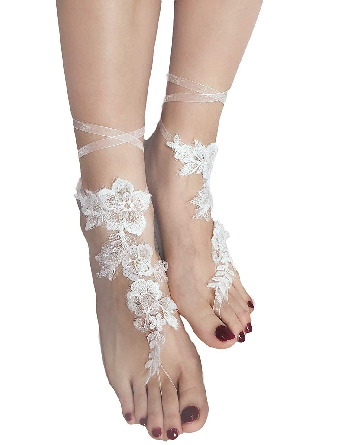 a47f77ed05a Amazon.com  Cibelle 2 Pieces Crochet Barefoot Sandals Lace Anklet Bangles Beach  Wedding Accessories Ivory  Clothing