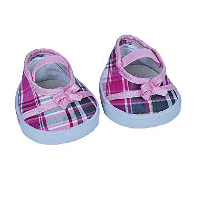 "Pink ""Plaid"" Sandals w/Bow Teddy Bear Clothes Fits Most 14"" - 18"" Build-a-bear and Make Your Own Stuffed Animals: Toys & Games"
