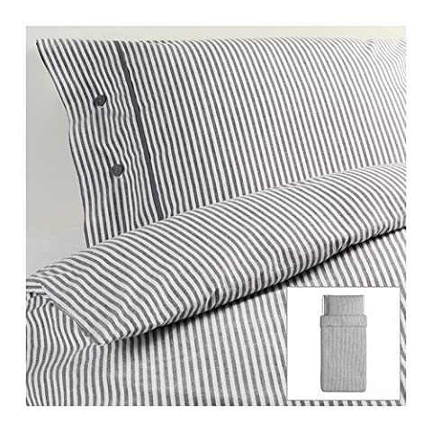 Beautiful White and Gray Striped Pattern Duvet Cover and Pillowcases Twin Size Ikea Nyponros (Ikea Twin Bedding)