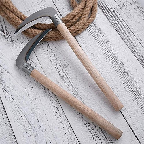 Autumn Water 2 Pcs Weeding Gardening Grass Sickle Wooden Handle Lightweight Durable Sharp Hand Tool Perfect for Weeding Cultivating