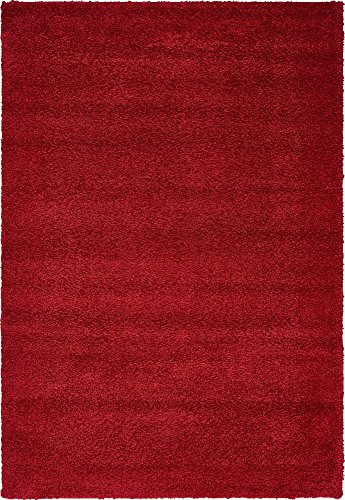 - Unique Loom Solo Collection Solid Plush Kids Red Area Rug (5' 0 x 7' 7)