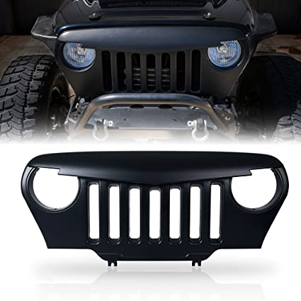 Xprite Angry Bird Grill Front Matte Black Grille Grid Accessories For 1997 2006  Jeep Wrangler