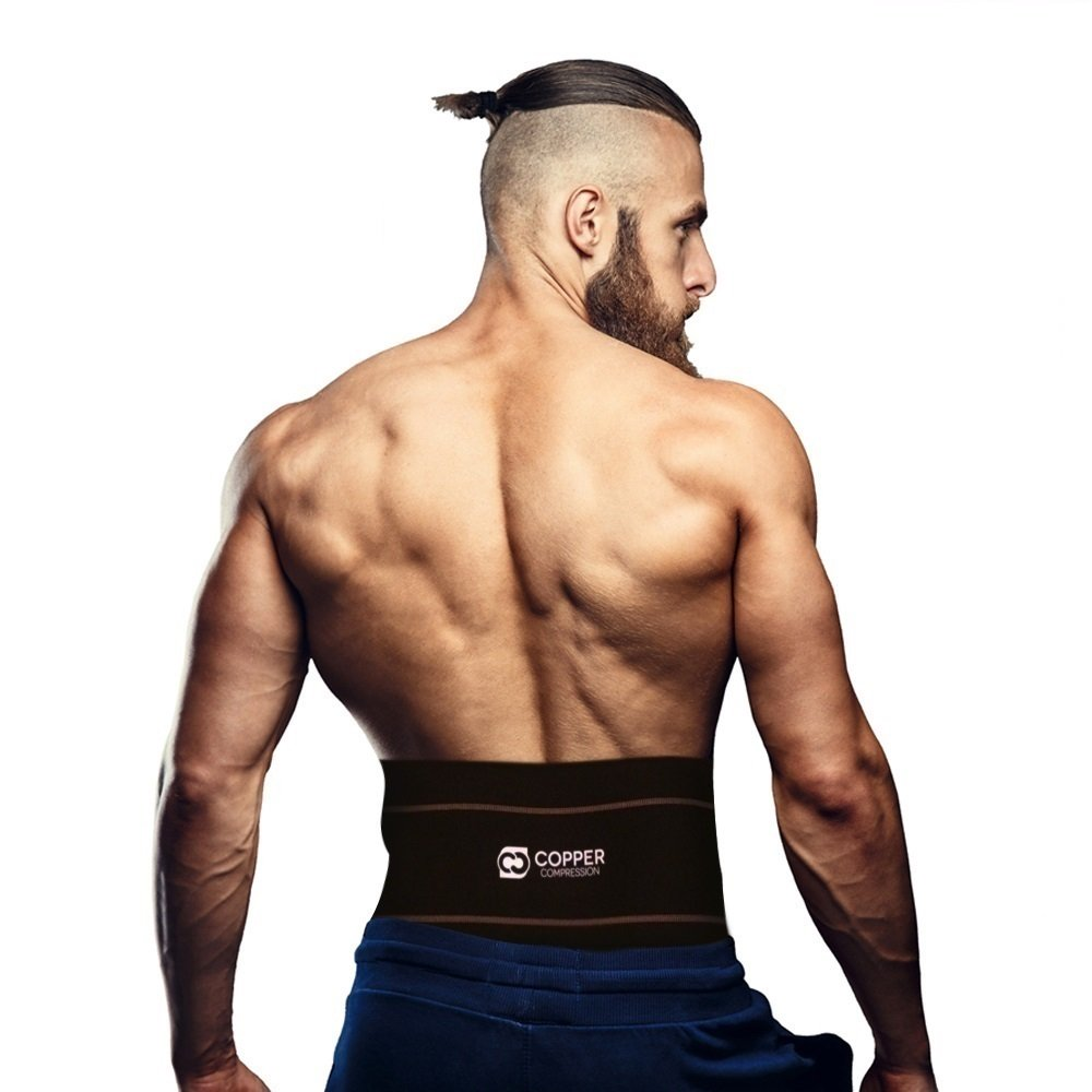 Copper Compression Recovery Back Brace - #1 GUARANTEED Highest Copper Content With Infused Fit. Waist Support Belt/Lower Back Lumbar Wrap For Men & Women. Works Great For Sitting, Walking, Sports