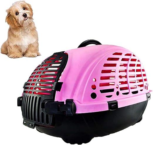 FXQIN Transportín para Gatos de plástico, Portador para Mascotas, Jaula para Animales, Caja de Transporte para Perros y Gatos, Jaula de plástico para Perros con asa, Rosa: Amazon.es: Productos para mascotas