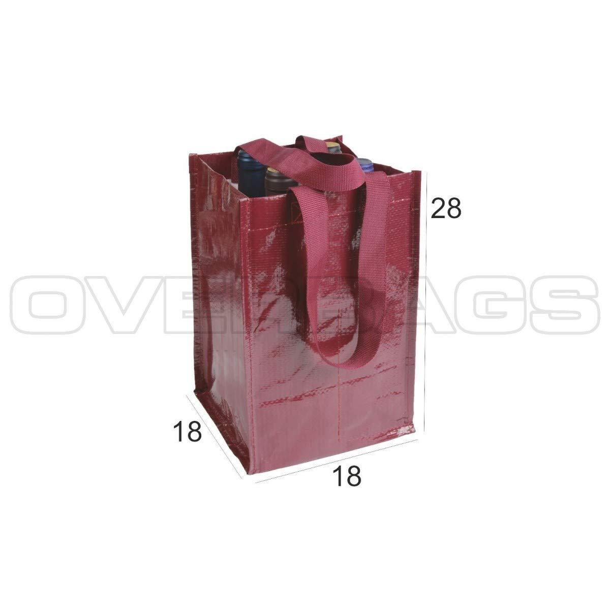 OverBags Borsa Porta 4 Bottiglie in Polipropilene Laminato CM 18X18X28 Manici Piatti Bordeaux