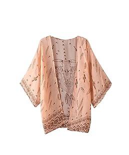 FeiTong Femmes Boho Imprimé en Mousseline de Soie lâche Shawl Cardigan Kimono Tops Cover up Blouse (L)