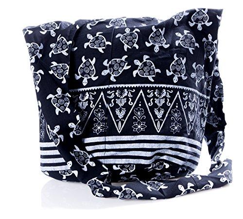 Bag Sling Turtle Hippie Black Avarada Crossbody Purse Bohemian Cotton Messenger Thai Hobo qFxqOYw