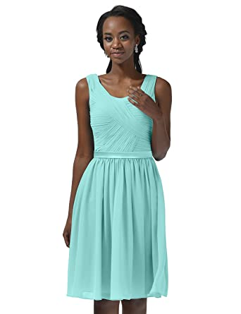 6ee15b4a009 Alicepub Pleated Chiffon Bridesmaid Dress Short A-Line Cocktail Party  Evening Dress Women s Formal Prom