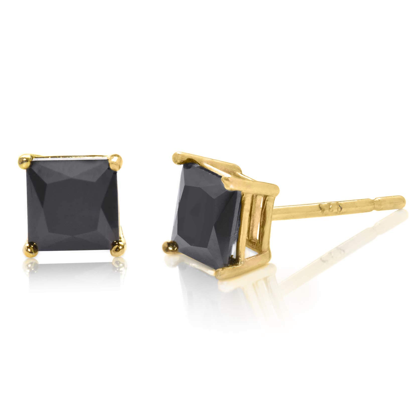Radiant Princess Square Cut Black CZ Unisex Stud Earrings Gold Plated 925 Sterling Silver 5x5mm
