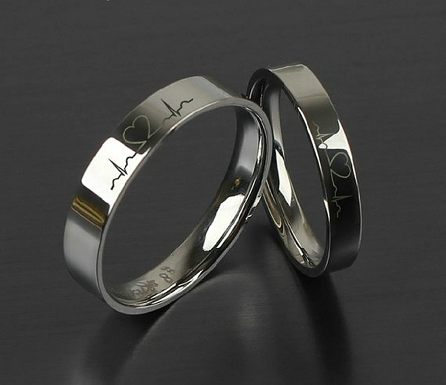 Amazon.com: Free Engraving Rings Electrocardiogram Promise Rings Titanium  ECG Ring Heartbeat Ring Wedding Bands Engagement Rings Heartbeat Laser  Engraved ...