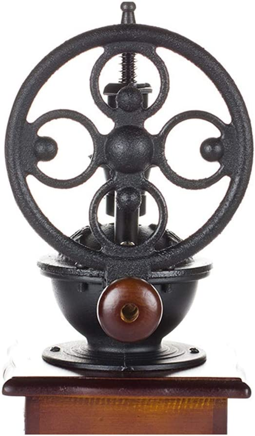 Brown+Black Tickos Retro Manual Coffee Grinder Classic Hand Grinder Adjustable Hand Coffee Mill with Solid Wood Base and Ceramic Grinding Core