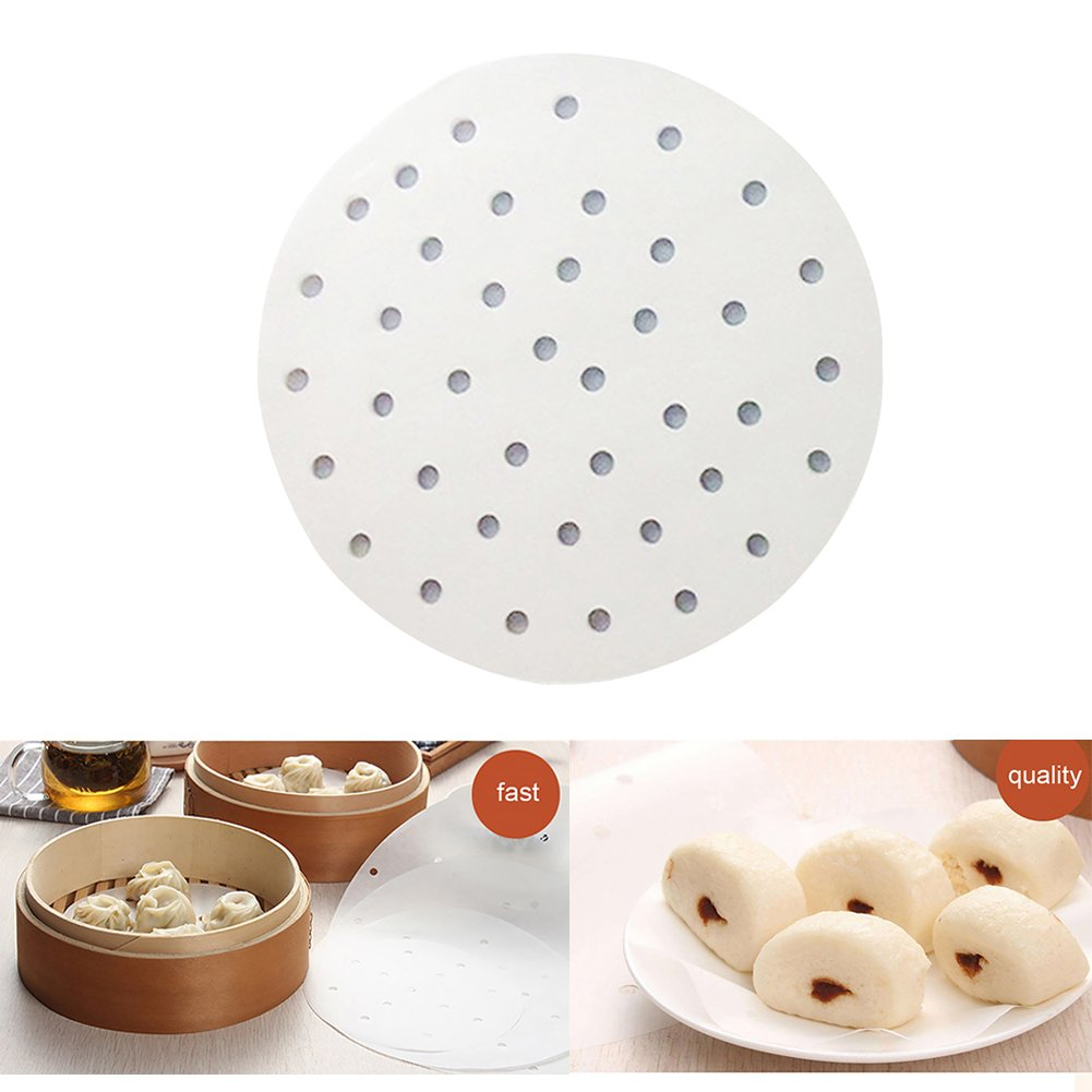 100Pcs Disposable Round Silicone Oil Paper Perforated Paper Liners for Bamboo Steamer, Air Fryer, Steaming Basket, 7/9 Inch(7 Inch) Behavetw