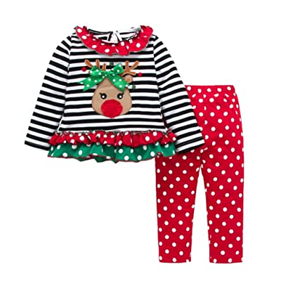 Sunbona 2pcs Christmas Set Outfits Toddler Baby Deer Striped T-Shirt+Pants Clothes