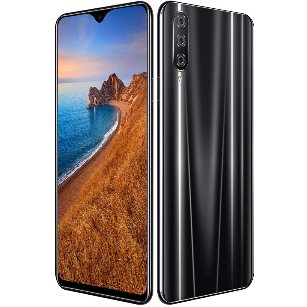 Unlocked Smartphone, Eight Core 6.3 inch Water Screen Four HD Camera 1+16GB Android 9.1 Drop Touch Screen WiFi Dual Sim Unlocked Cell Phones (Black)