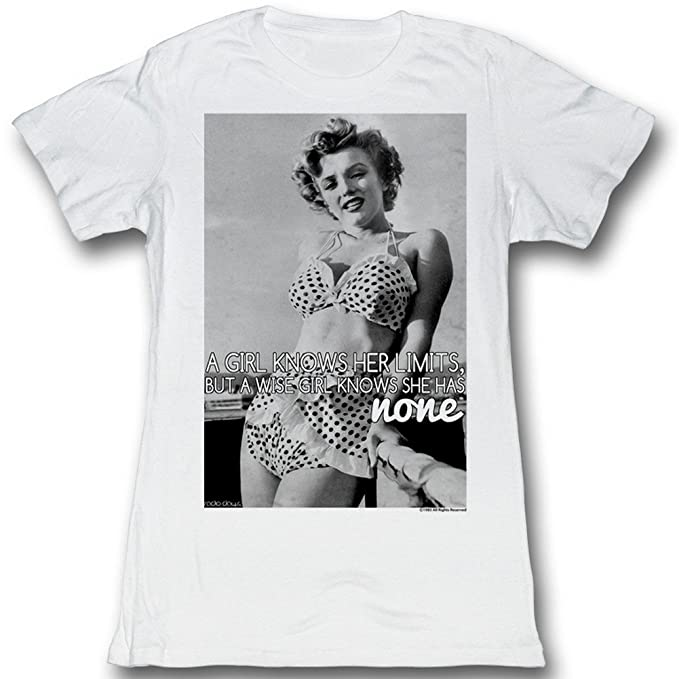 Marilyn Monroe - Donna Costume da Bagno Lean t-Shirt Bianco White   Amazon.it  Abbigliamento b35fb704103