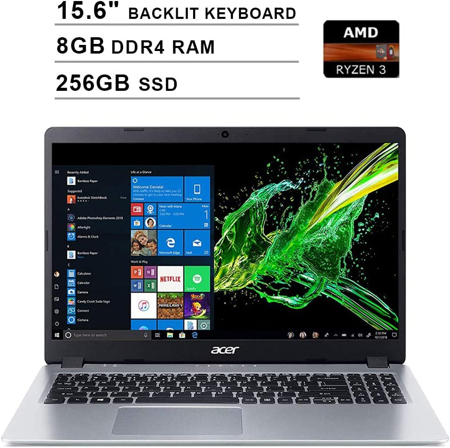 2020 Acer Aspire 5 15.6 Inch FHD 1080P Laptop (AMD Ryzen 3 3200U up to 3.5 GHz, 8GB DDR4 RAM, 256GB SSD, AMD Radeon Vega 3, Backlit Keyboard, WiFi, Bluetooth, HDMI, Windows 10 Home S)