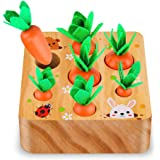 SKYFIELD Carrot Harvest Game Wooden Toy for Boys and Girls 1 2 3 Years Old, Shape Sorting Matching Puzzle Toy with 7 Sizes Ca