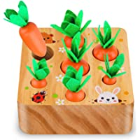 SKYFIELD Carrot Harvest Game Wooden Toy for Boys and Girls 1 2 3 Year Old. Shape Sorting Matching Puzzle Toy with 7…