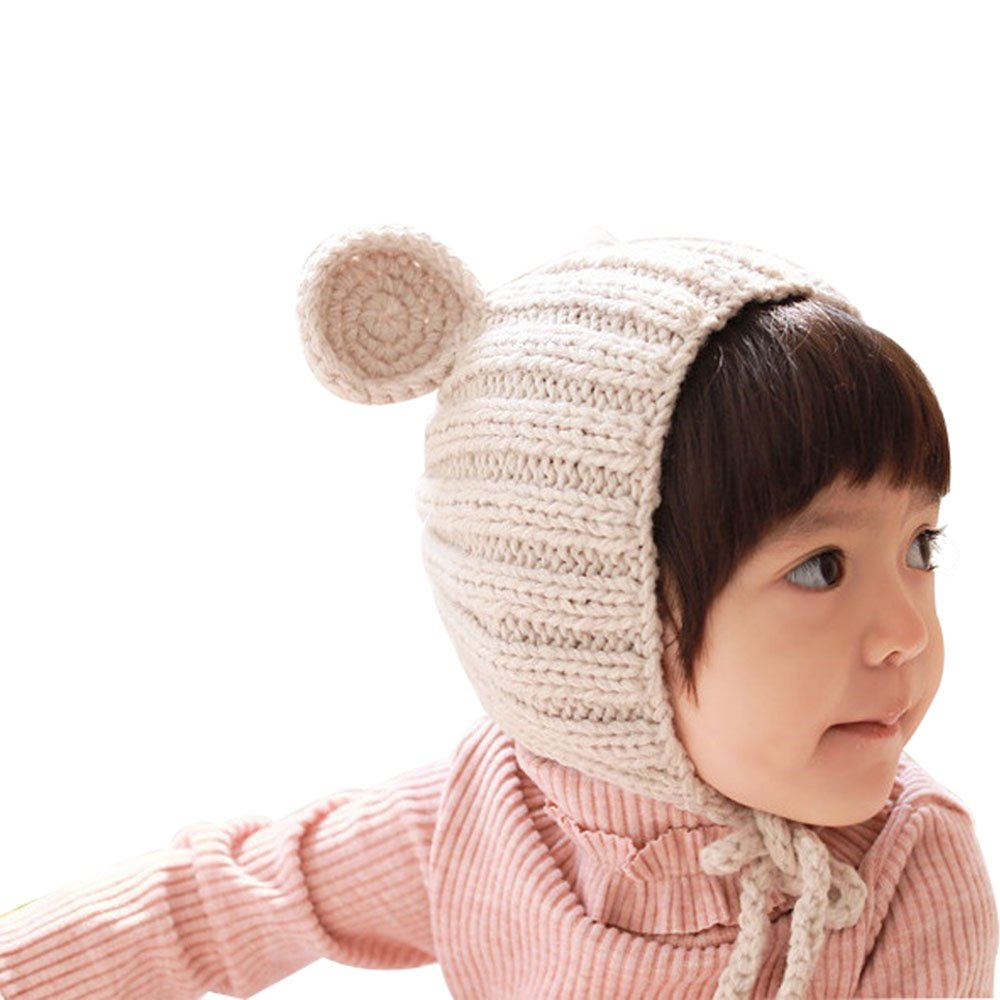 df6addd3e0e Amazon.com  Beige Lovely Bear Ear Knitting Wool Hat Elastic Ear Warm  Headwrap Korean Style Baby Hat Baby Girls Boys Winter Hat Caps  Clothing