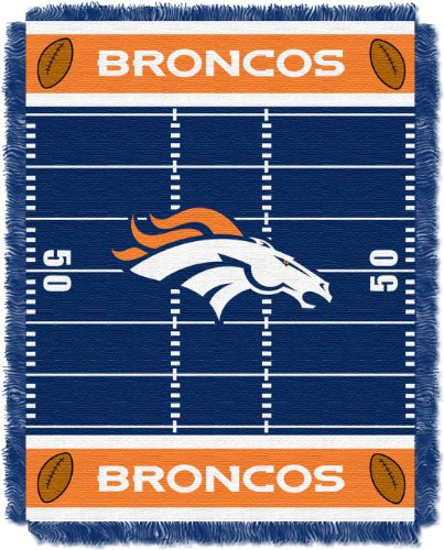 Officially Licensed NFL Denver Broncos Field Bear Woven Jacquard Baby Throw Blanket, 36