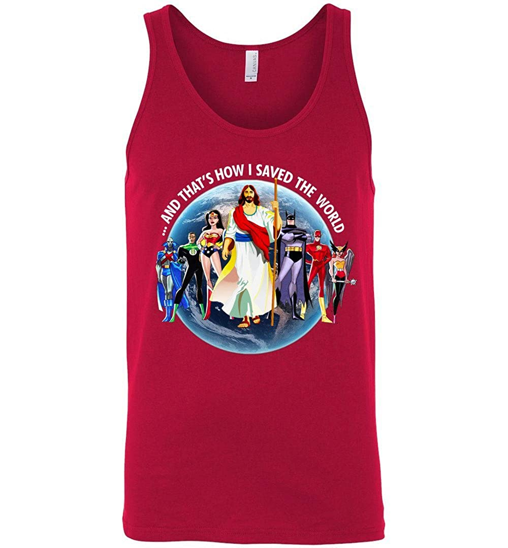 TEEPAAA Jesus Chris and Thats How I Saved The World God and Superheroes Unisex Tank