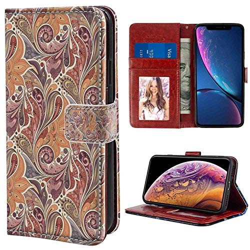iPhone Xr Wallet Case, Floral Traditional Paisley Leaf Pattern with Persian Arabesque Details Colorful Boho Design Multicolor PU Leather Folio Case with Card Holder and ID Coin Slot