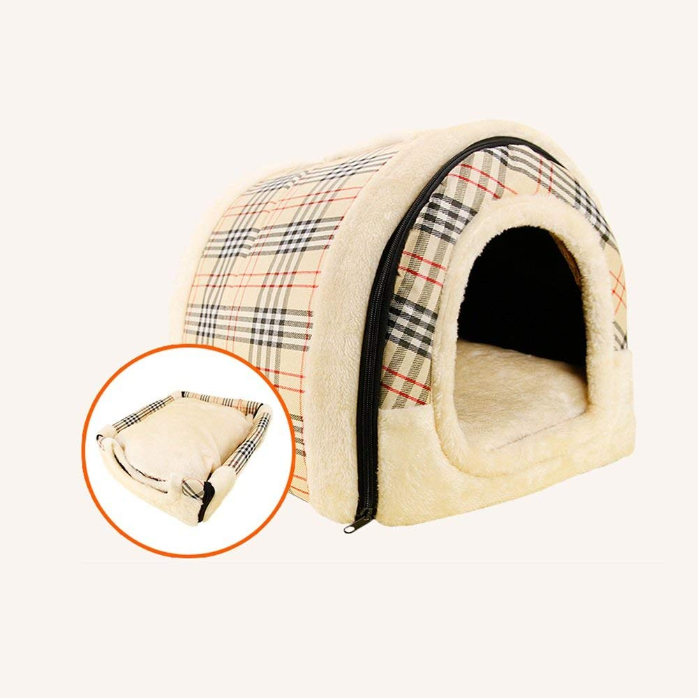 2 Large 2 Large Pet Bed Kennel Removable and Washable Teddy golden Retriever Small and Medium Sized Pet Bed Cat Nest Dog House Resistance to Bite Waterproof Four Seasons Universal (color   02, Size   Large)
