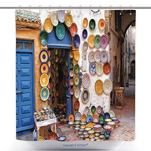 vanfan-Polyester Shower Curtains Colorful Moroccan Faience Pottery Dishes On Display In An Alley Outside A Shop In The Scenic Polyester Bathroom Shower Curtain Set With Hooks(72 x 108 inches) (Canada Lanterns Moroccan)