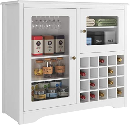 ⛄【GRAN CAPACIDAD】 Dispone de 2 puertas (5 estantes y 1 portavasos), 1 botellero para 20 botellas. Se
