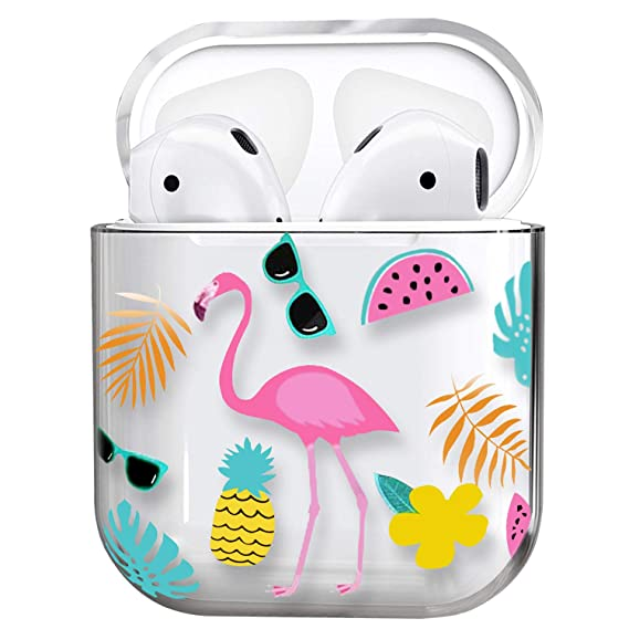 Air Pods Case,Cute Clear Smooth Tpu [No Dust] Shockproof Cover Case For Apple Airpods 2 &1,Kawaii Fun Cases For Girls Kids Teens Air Pods (Flamingo) by Mangix